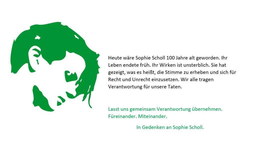 9. Mai 2021: 100. Geburtstag von Sophie Scholl